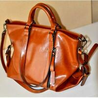 Women's Classic Oiled PU Leather Handbag Lady Shoulder Bag Tote Messenger Bags t