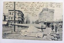 1906 NJ Postcard Elizabeth New Jersey Spanish Gun Olympia Square houses man boy