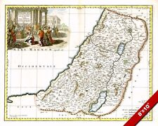 HOLY LAND TRIBES OF ISRAEL LOCATIONS MAP PAINTING TORAH BIBLE ART CANVAS PRINT
