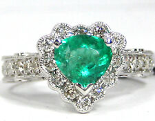 Emerald Anillo 14K Oro Blanco Antiguo Pavé Colombia Color Heirloom Gratis