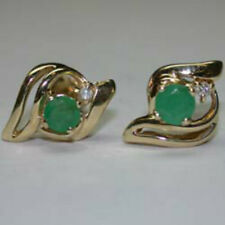 GoRgEoUs! GENUINE NATURAL EMERALD & DIAMOND 14 CT EARRINGS £!