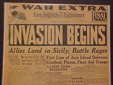 VINTAGE NEWSPAPER HEADLINE WORLD WAR US ALLIES INVASION BATTLE NAZI SICILY WWII