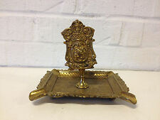Vintage Brass Ashtray w/ Match Box Holder w/ Scrolling & Face Decoration