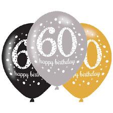 6 x 60° palloncini di compleanno Nero Argento Oro Decorazioni Festa Età 60