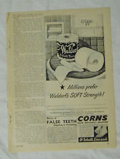 1946 Magazine Advertisement Page For Waldorf Scott Tissue Toilet Paper Soft Ad