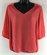 BCX Womens Shirt Size Medium Coral Pink Back Cut Out Blouse Sheer Top 3/4 Sleeve
