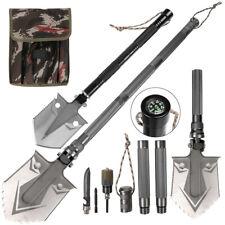 Military Folding Survival Shovel Heavy Duty Carbon Steel Spade Multi Tools Kit