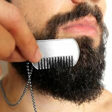 Men's Beard Bib Brush Comb Necklace Dog Tags Blank Personalise Gift For Him - UK