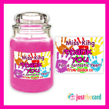 Personalised Teacher Thank You Handprints Candle Label