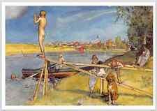 Postcard: Swedish artist Carl Larsson - Children and Dog at Swimming Hole, Cloud