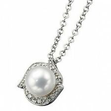 New Jewellery Ladies 9ct White Gold Cultured Pearl & Diamond Pendant Necklace