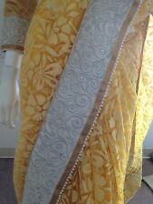 Indian-Pakistani-Bollywood Bridal heavy border viscous net Saree-yellow Gold