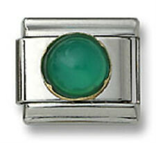 Authentic 18k Italian Charm Genuine Green Agate Stone Round 9mm Fit Bracelet