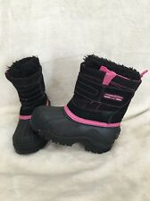 Girls Weatherproof Eve Size 8 Pink Black Winter Snow Boots Youth Leather Upper +