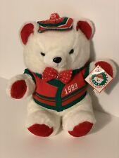 "18"" VINTAGE 1989 CHRISTMAS KMART TEDDY BEAR RED SANTA CLUB STUFFED ANIMAL PLUSH"