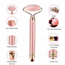Electric Rose Quartz Jade Roller Facial Eyes Skin Anti-Aging Vibration Massager