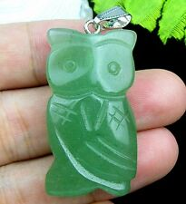 Beautiful unique green Aventurine carved owl 41x20x9mm pendant bead lxh666