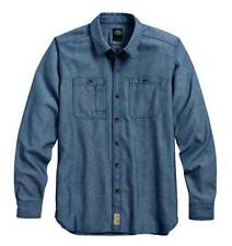Harley Davidson Men's Herringbone Woven Shirt, Blue - 96455-16VM