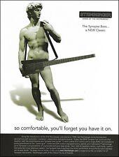 Steinberger Synapse headless bass guitar advertisement Statue of David ad print