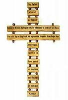 Olive Wood Small Our Father Cross Holy Land Bethlehem Christianity, Wall Hanging
