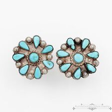 Antique Vintage Native Navajo Sterling Silver Petit Point Turquoise Earrings!