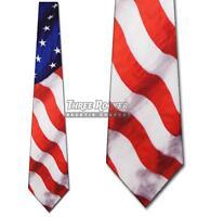 Waving Flag Tie Patriotic Neckties Americana Mens Neck Ties NWT