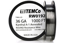 TEMCo Kanthal A1 wire 36 Gauge 1000 Ft Resistance AWG A-1 ga