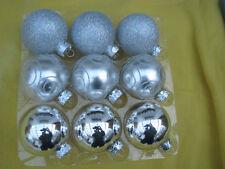 silber Christbaumkugeln 9 Stück Weihnachtskugeln Glas 8cm Baumkugel Weihnachten