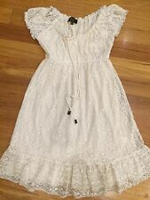 SIZE S CREAM LACE DRESS, ICE FASHION, LINED, ELASTIC WAIST New Bnwot