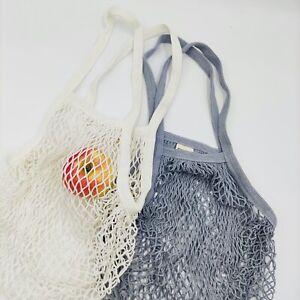 Einkaufsnetz Netztasche weiß oder grau 100% Baumwolle Gemüsesack Eco-Friendly