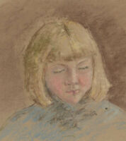 Ann Matthews - 20th Century Pastel, Portrait Study of a Girl with Blonde Hair