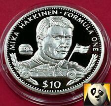 1995 LIBERIA $10 Ten Dollar F1 Formula One Mika Hakkinen Silver Proof Coin