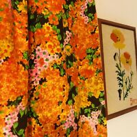Four Panels 1970s Vtg Curtain Psychedelic Orange Yellow Groovy Retro Flowers
