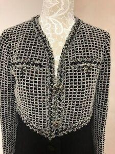 Chanel Vintage Mantel  Tweed Schwarz Weiß