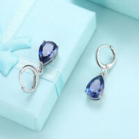 18K White Gold Plated  Created Blue Sapphire Oval Leverback Earrings