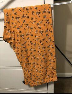 Lularoe Orange Floral Tc2 Leggings