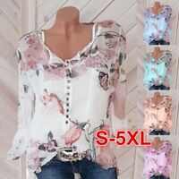 AU Womens Chiffon Floral Button Lace Up Shirt Ladies Casual Top Blouse Plus Size