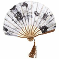 Chinese Gray Peony Blossom Fabric Bamboo Folding Dancing Hand Fan White L6H2