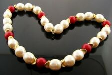 """VINTAGE JAPANESE PEARL RED & GOLD ACRYLIC  BEADED 18"""" DECO TIPPED SECTION  A1282"""