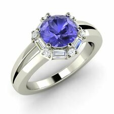 1.27 Carat Natural Tanzanite & VS1/G Diamond Engagement Ring in 14k White Gold