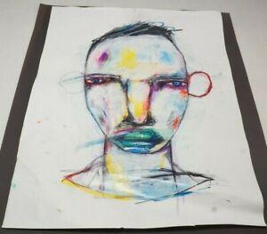 "Michael Banks Outsider Folk Art Abstract Man Face Signed 19x24.5"" (I)"