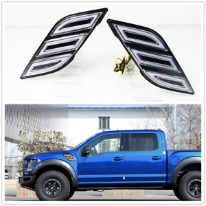 Fender Vent LED DRL Side Marker Light Turn Signal Fit For Ford F150 Raptor 17-19