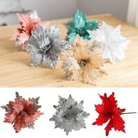 2Pcs Artificial Flowers Glitter Poinsettia Fake Flowers DIY Christmas Tree Decor