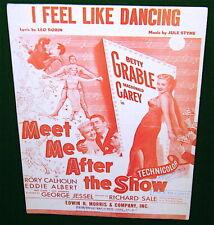 I FEEL LIKE DANCING, Sheet Music, Betty Grable, Meet Me After the Show, Ukulele