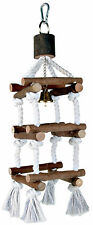Wooden Rope Tower Bird Swing Budgie Canary Climbing Frame Perch Toy with Bell