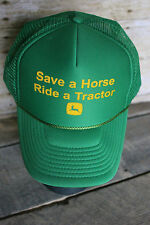 "Vintage John Deere ""Save A Horse Ride a Tractor"" Green Snap Back Trucker Cap Hat"