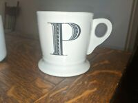 Anthropologie Monogram 12 oz Coffee Mug P Initial White Black Letter Stoneware