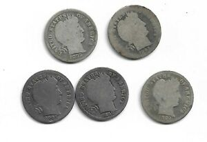 Lot of 5 Barber Dimes : 1892 1893 1897 1898 1899