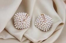 Womens Retro Elegant Crystal Rhinestone White Pearl Rhombus Earrings Ear Studs