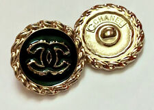 2 Vtg Gold Tone Black Center Chanel  Stamped Buttons , 20mm